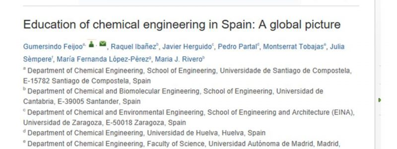"""Education of chemical engineering in Spain: A global picture"" TOP 1 de las descargas sobre Educación en Ingeniería Química"